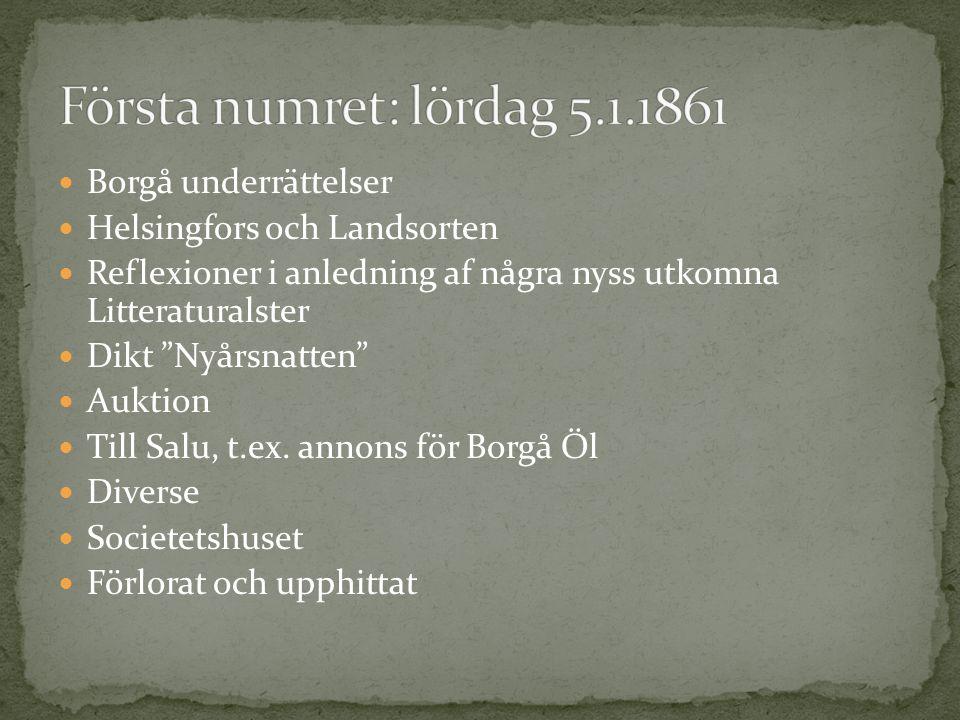 Första numret: lördag 5.1.1861 Borgå underrättelser