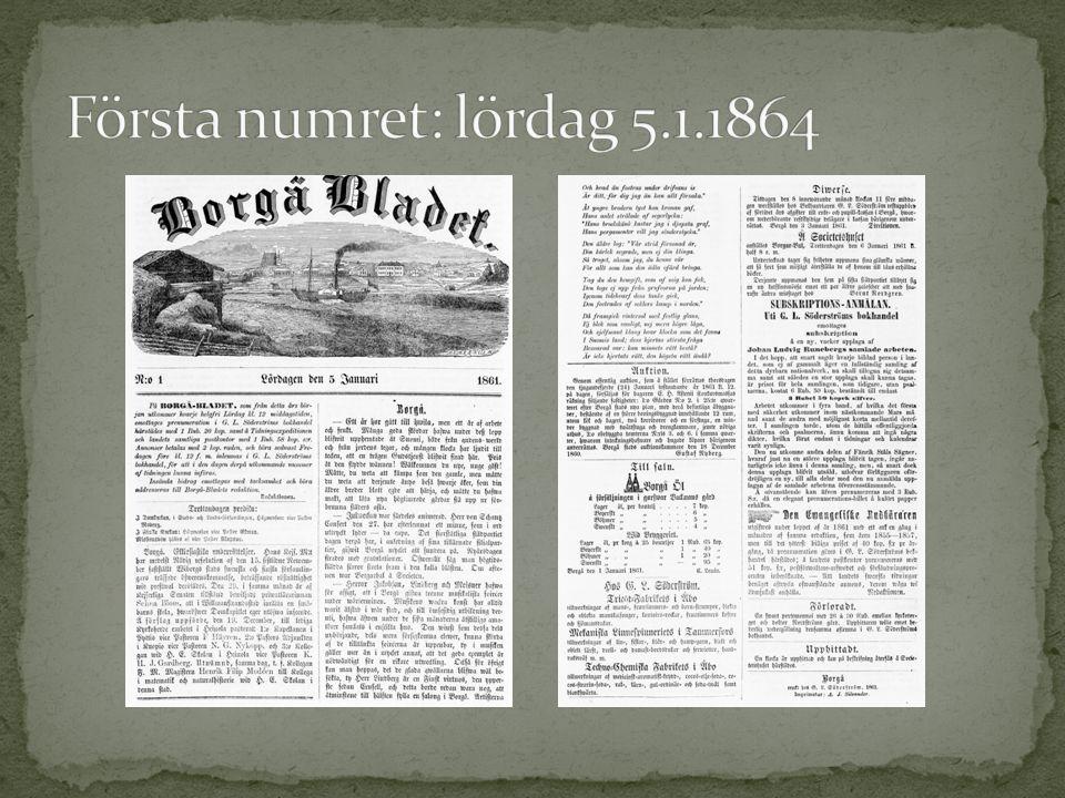 Första numret: lördag 5.1.1864