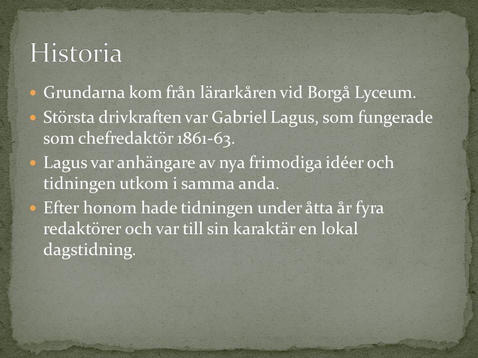 Historia Grundarna kom från lärarkåren vid Borgå Lyceum.
