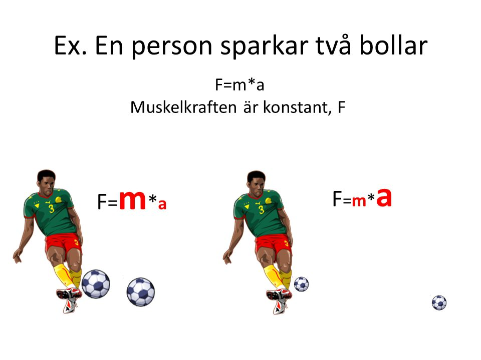 Ex. En person sparkar två bollar