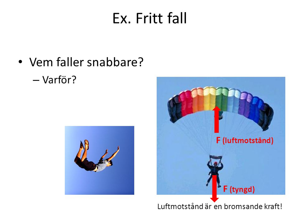 Ex. Fritt fall Vem faller snabbare Varför F (luftmotstånd) F (tyngd)