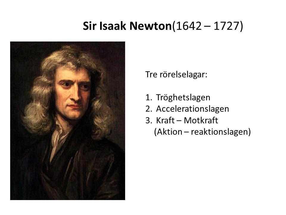 Sir Isaak Newton(1642 – 1727) Tre rörelselagar: Tröghetslagen