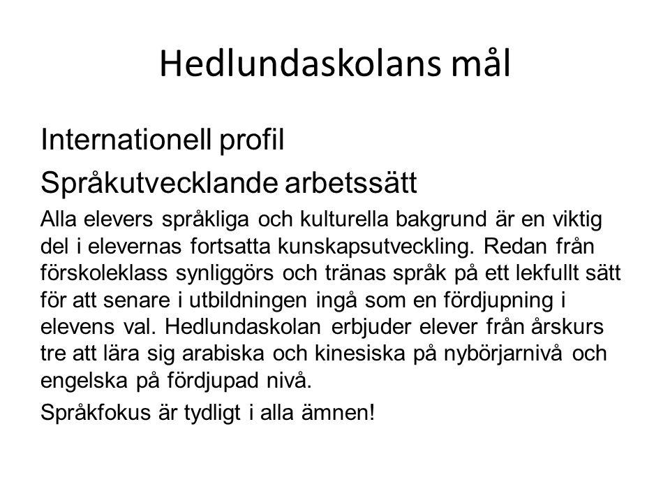 Hedlundaskolans mål Internationell profil Språkutvecklande arbetssätt