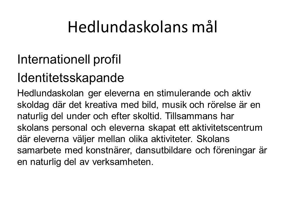 Hedlundaskolans mål Internationell profil Identitetsskapande