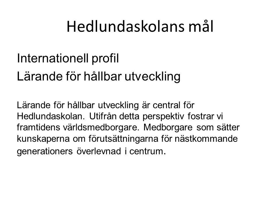 Hedlundaskolans mål Internationell profil