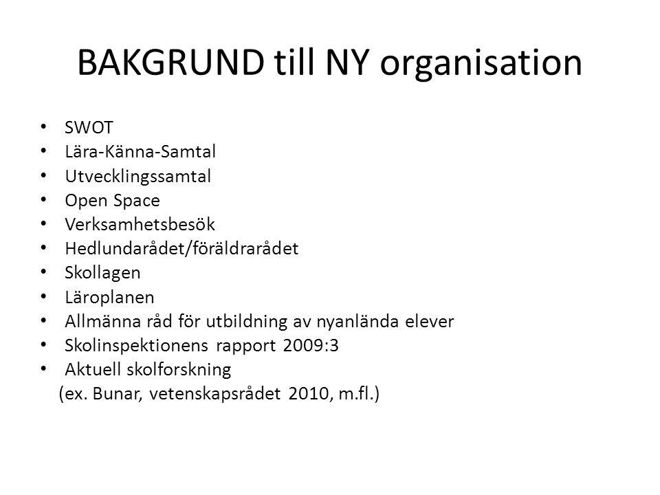 BAKGRUND till NY organisation