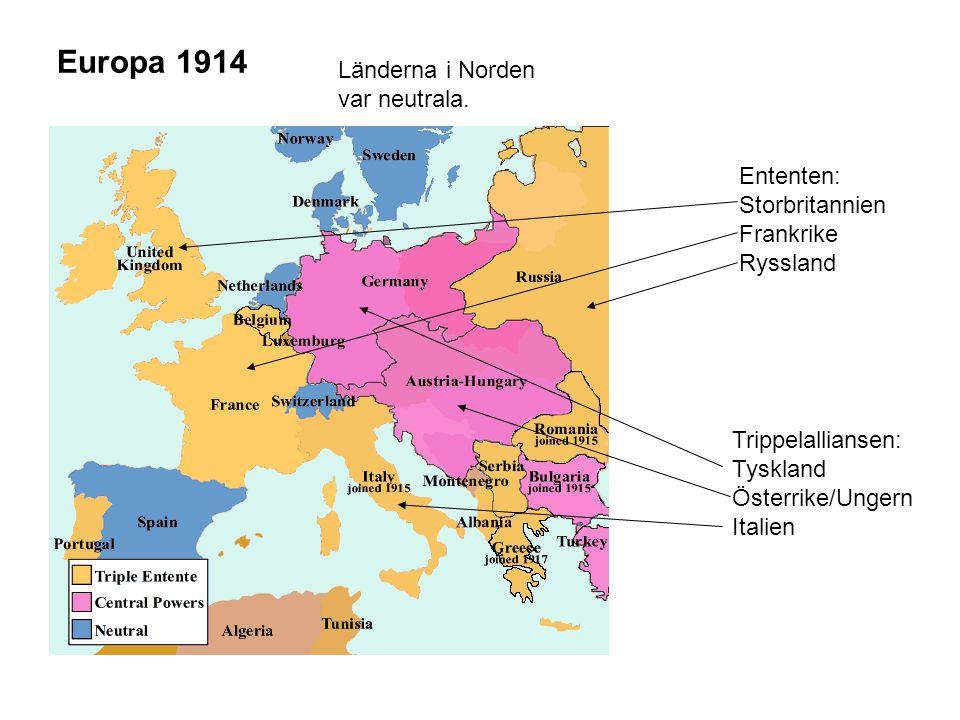 Europa 1914 Länderna i Norden var neutrala. Ententen: Storbritannien