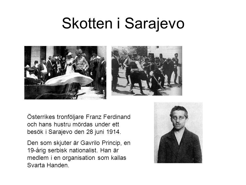 Skotten i Sarajevo Österrikes tronföljare Franz Ferdinand och hans hustru mördas under ett besök i Sarajevo den 28 juni 1914.
