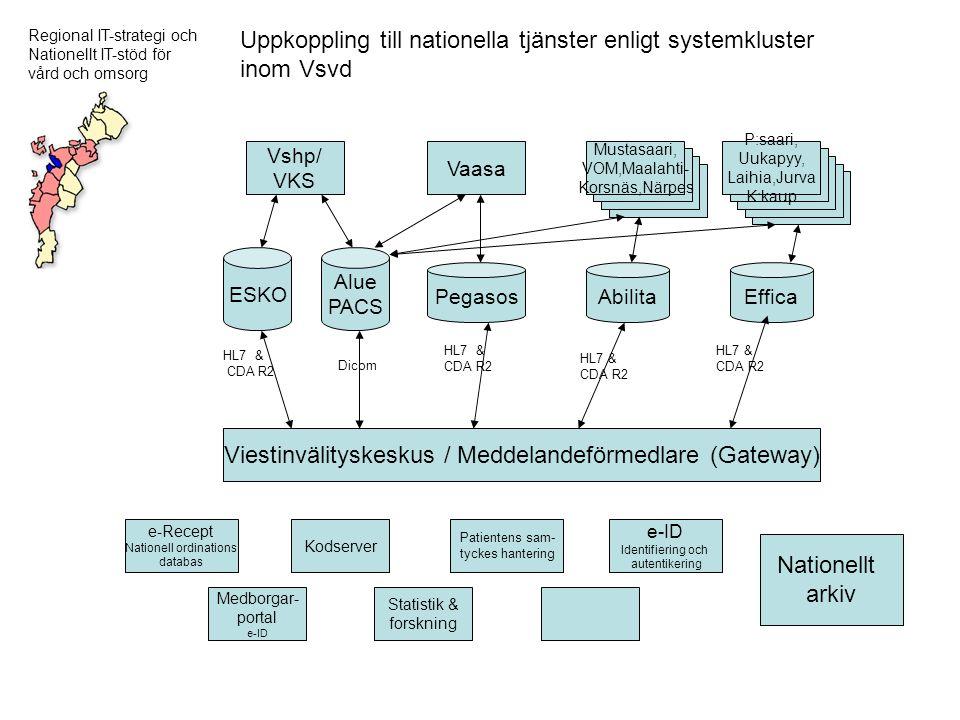 Uppkoppling till nationella tjänster enligt systemkluster inom Vsvd