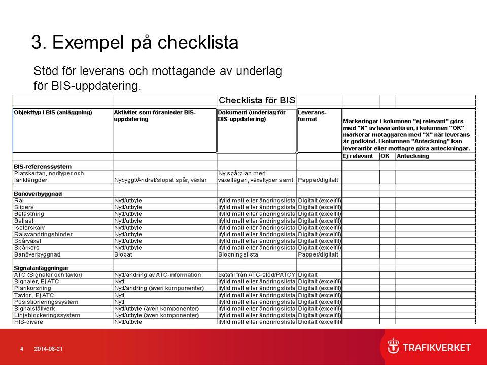 3. Exempel på checklista Stöd för leverans och mottagande av underlag för BIS-uppdatering.