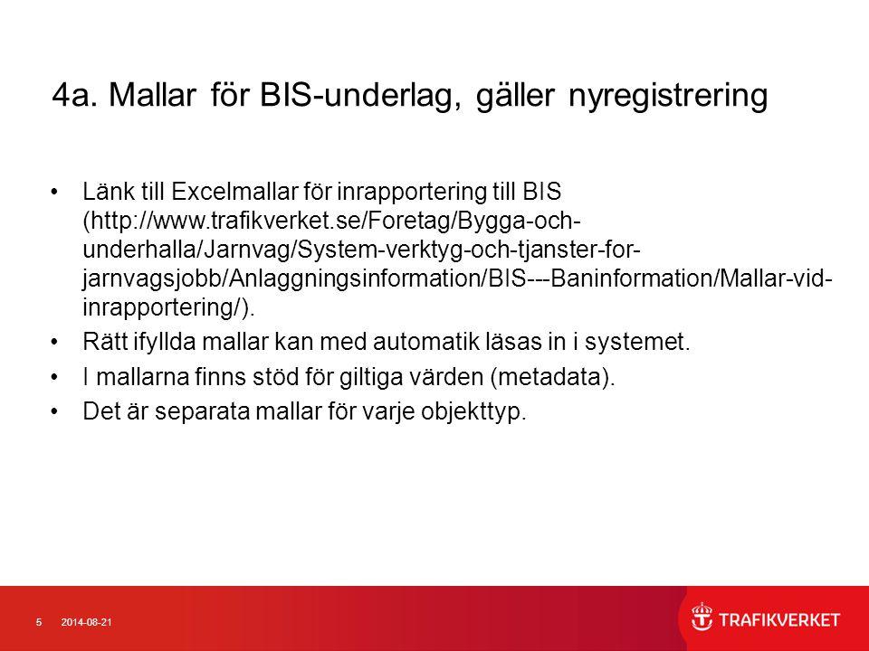 4a. Mallar för BIS-underlag, gäller nyregistrering