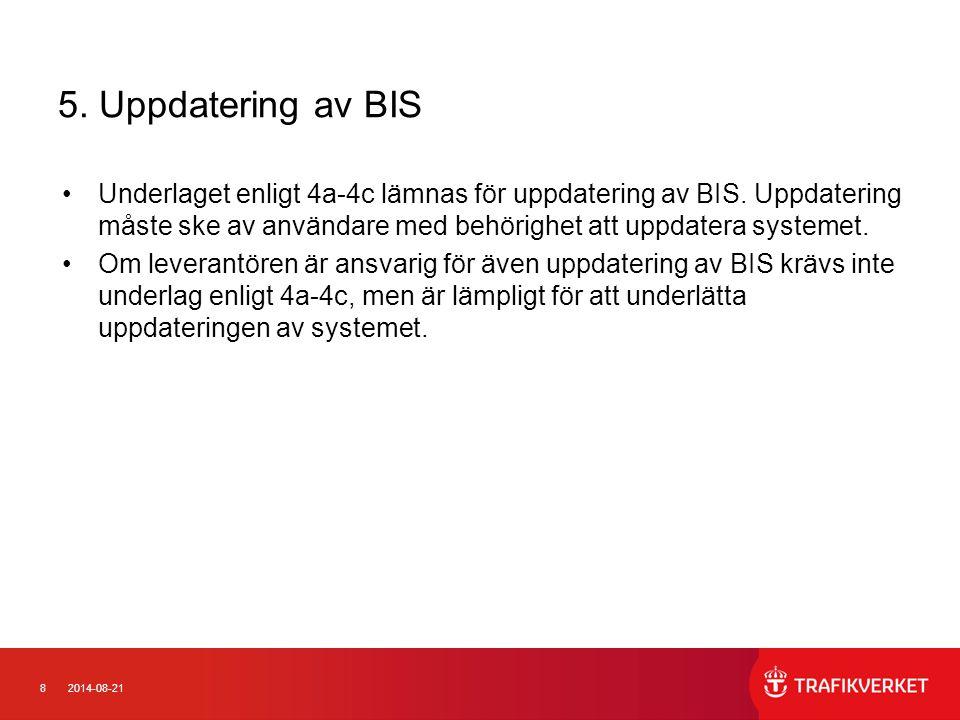 5. Uppdatering av BIS