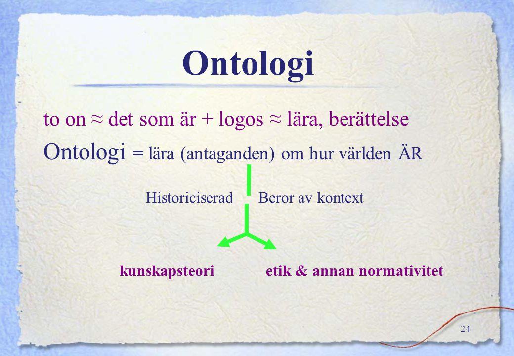 Ontologi Ontologi = lära (antaganden) om hur världen ÄR