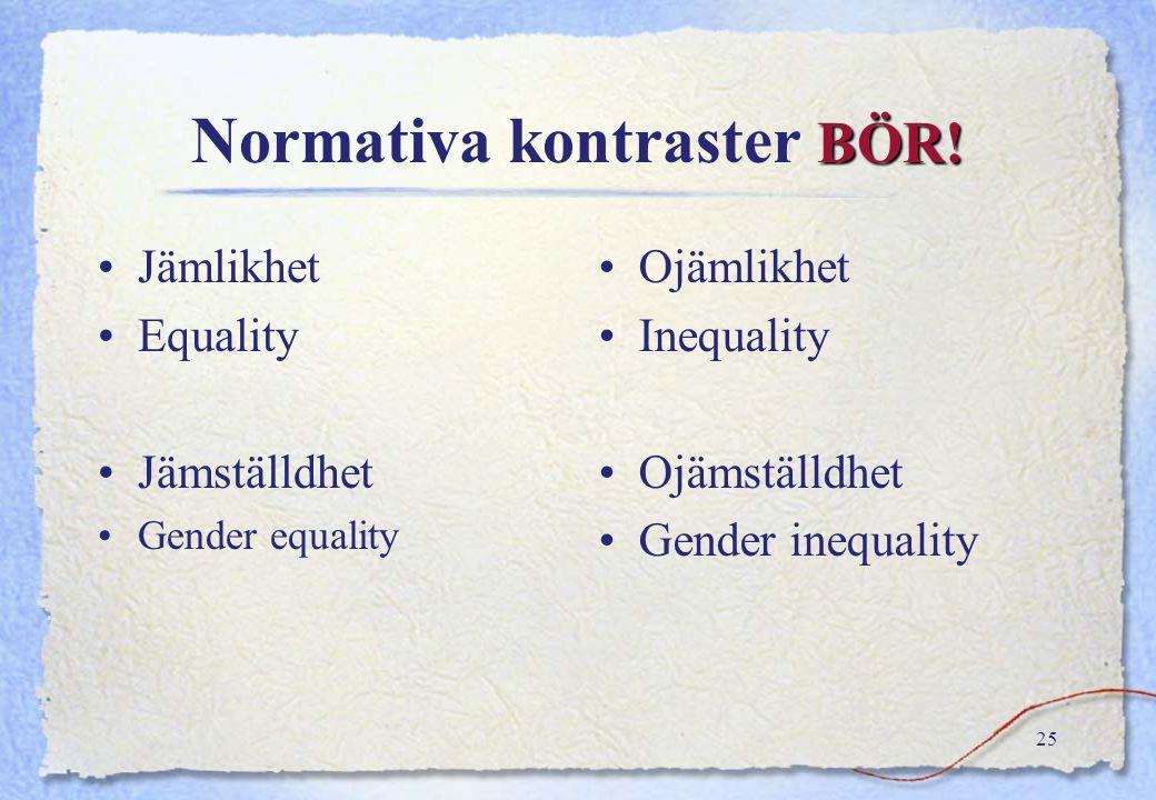 Normativa kontraster BÖR!