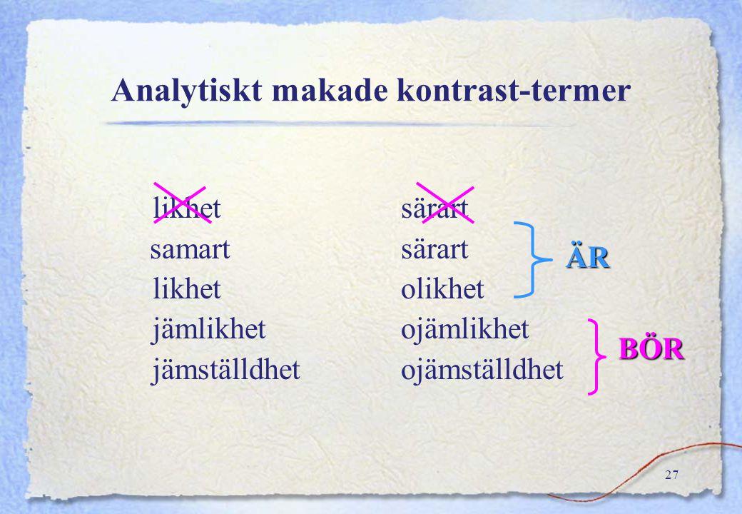 Analytiskt makade kontrast-termer