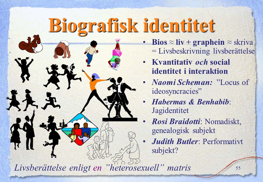 Biografisk identitet Livsberättelse enligt en heterosexuell matris