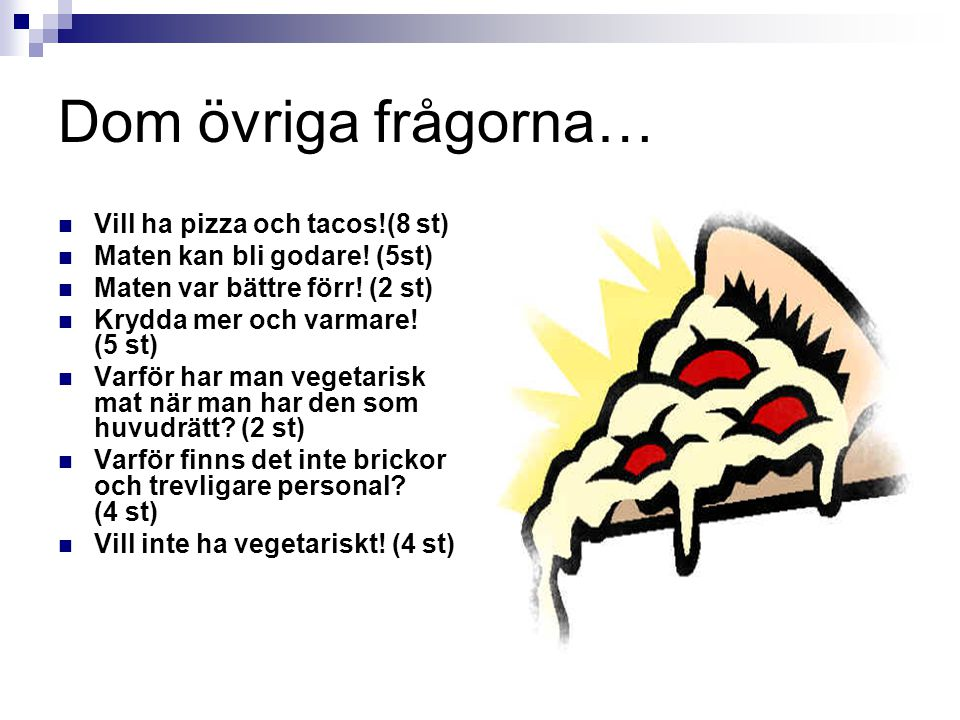 Dom övriga frågorna… Vill ha pizza och tacos!(8 st)
