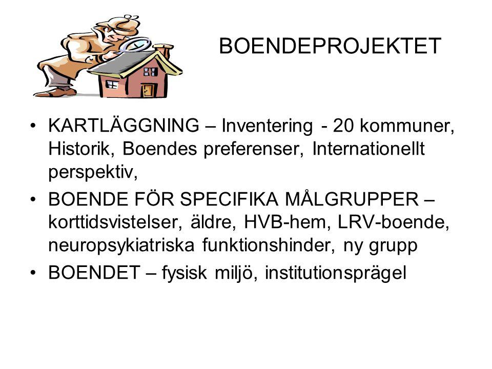 BOENDEPROJEKTET KARTLÄGGNING – Inventering - 20 kommuner, Historik, Boendes preferenser, Internationellt perspektiv,