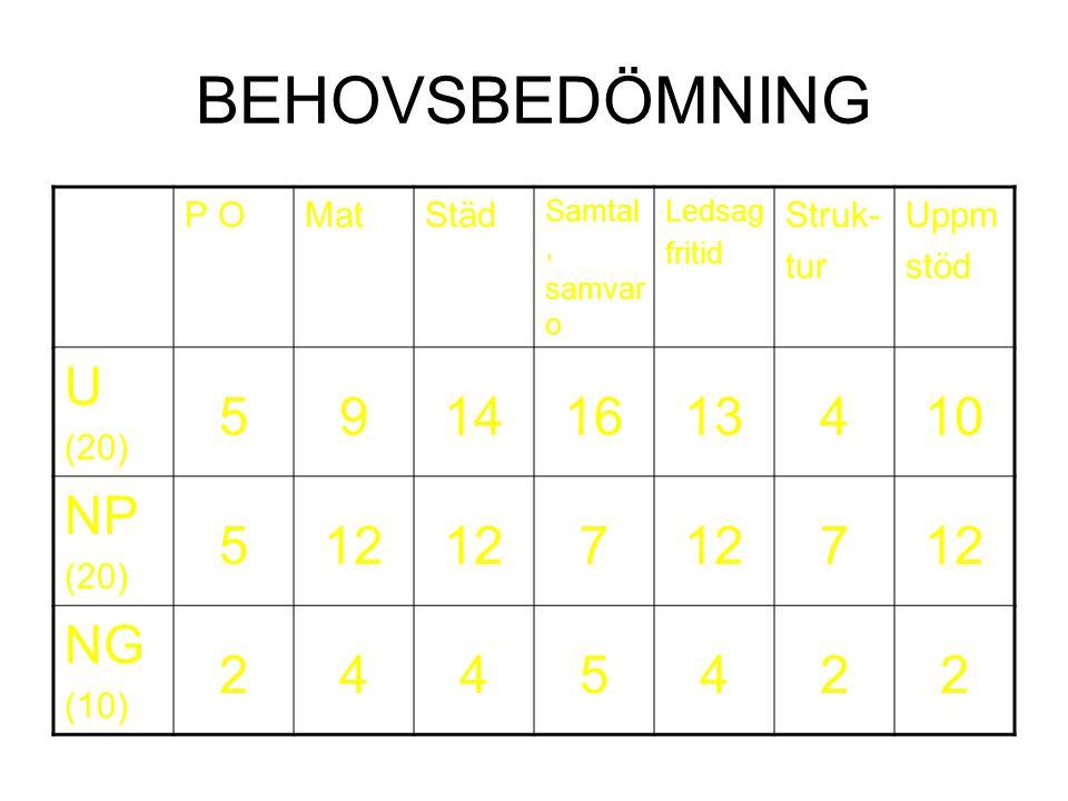 BEHOVSBEDÖMNING U 5 9 14 16 13 4 10 NP 12 7 NG 2 P O Mat Städ Struk-