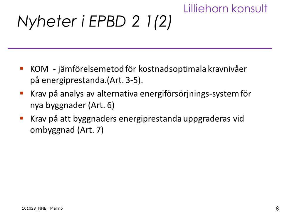Nyheter i EPBD 2 1(2) KOM - jämförelsemetod för kostnadsoptimala kravnivåer på energiprestanda.(Art. 3-5).