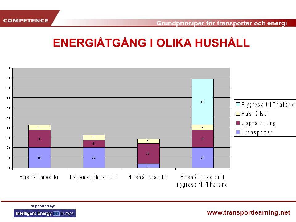 ENERGIÅTGÅNG I OLIKA HUSHÅLL