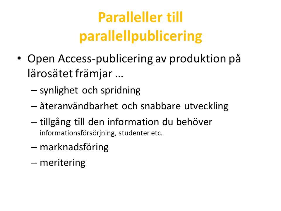 Paralleller till parallellpublicering