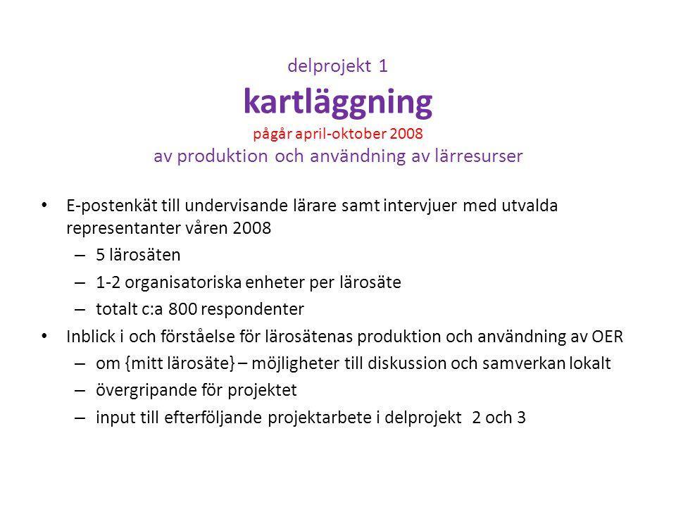 delprojekt 1 kartläggning pågår april-oktober 2008 av produktion och användning av lärresurser