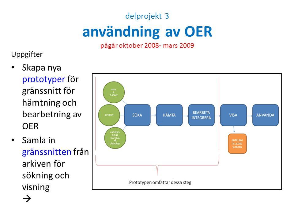 delprojekt 3 användning av OER pågår oktober 2008- mars 2009