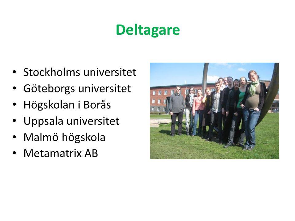 Deltagare Stockholms universitet Göteborgs universitet