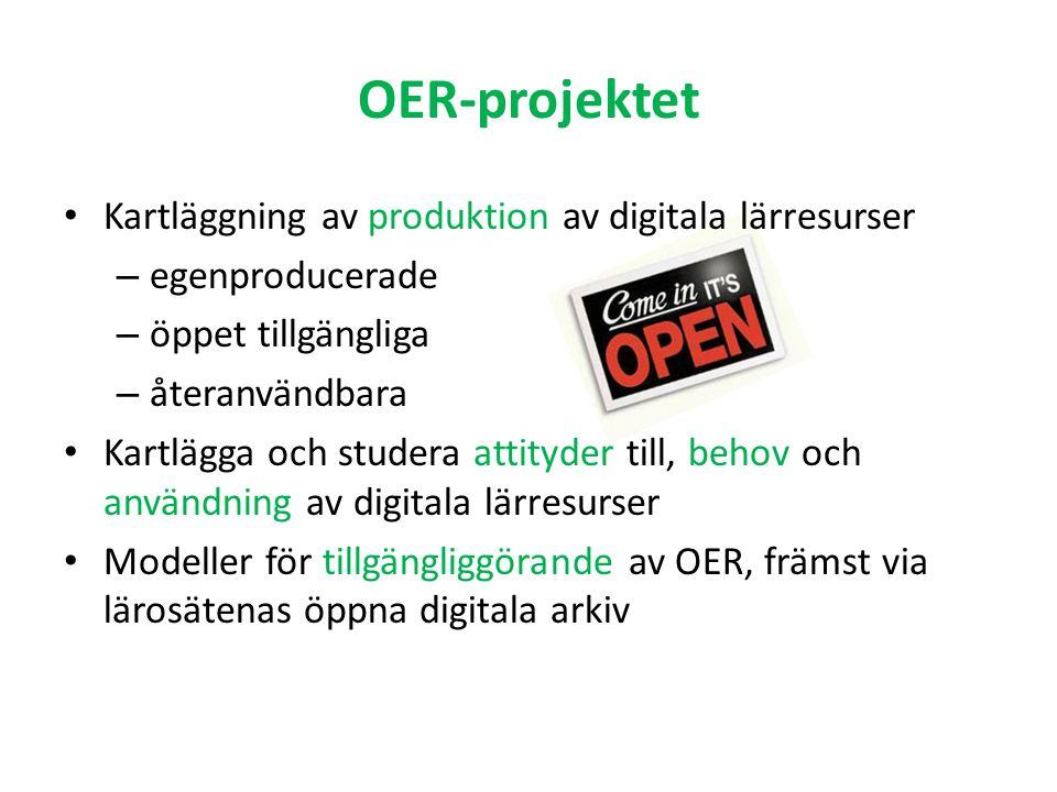 OER-projektet Kartläggning av produktion av digitala lärresurser