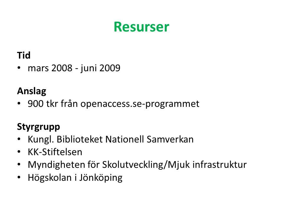 Resurser Tid mars 2008 - juni 2009 Anslag