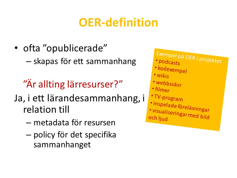 OER-definition ofta opublicerade