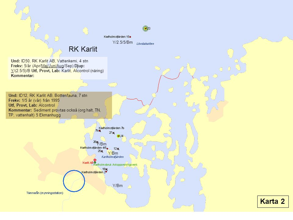 Y/2.5/5/Bm RK Karlit. Und: ID50, RK Karlit AB, Vattenkemi, 4 stn.