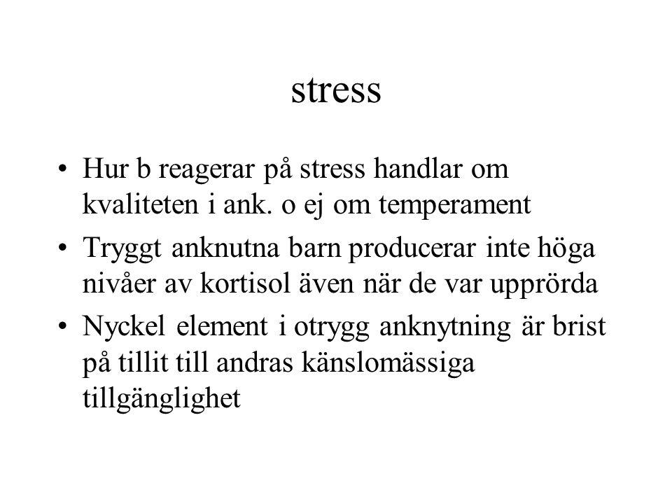 stress Hur b reagerar på stress handlar om kvaliteten i ank. o ej om temperament.