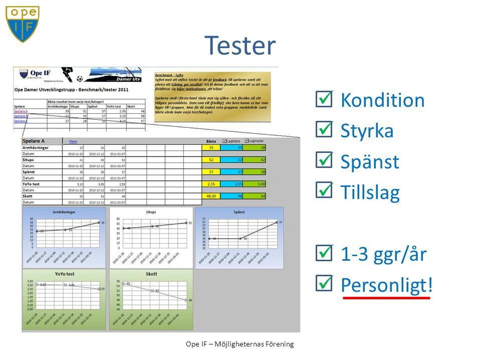 Tester Kondition Styrka Spänst Tillslag 1-3 ggr/år Personligt!