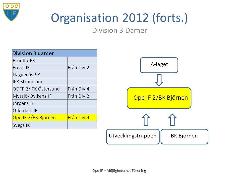 Organisation 2012 (forts.) Division 3 Damer