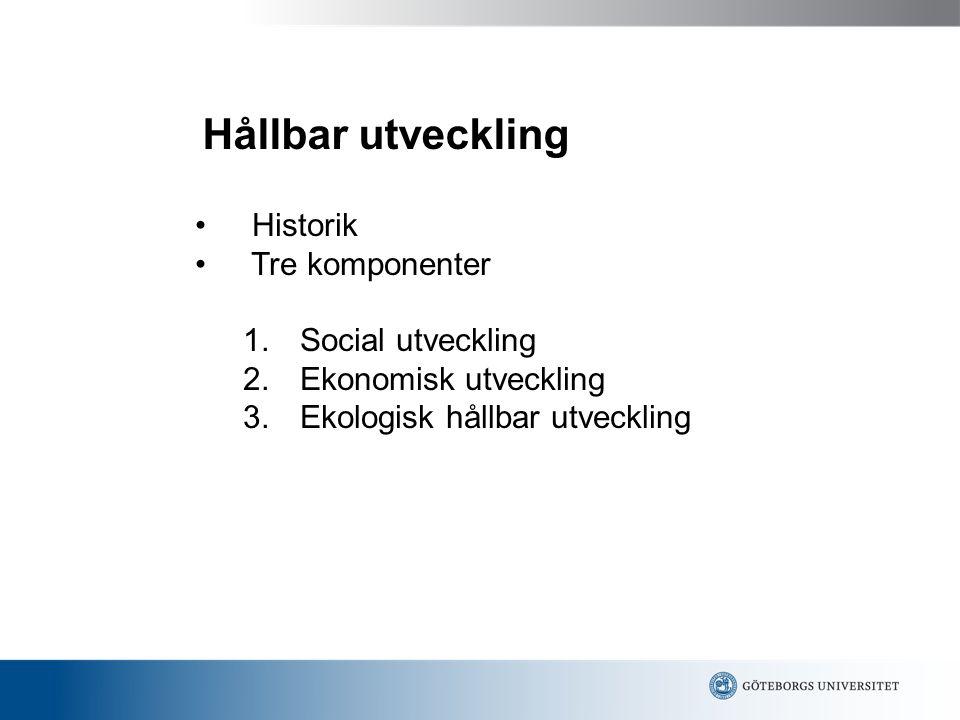 Hållbar utveckling Historik Tre komponenter Social utveckling