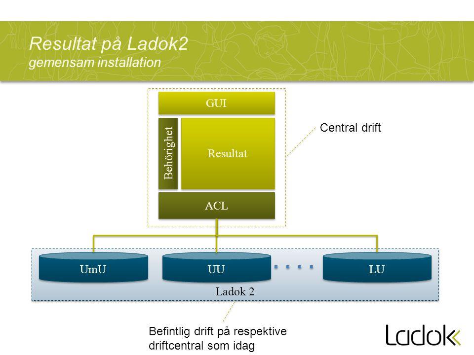 Resultat på Ladok2 gemensam installation