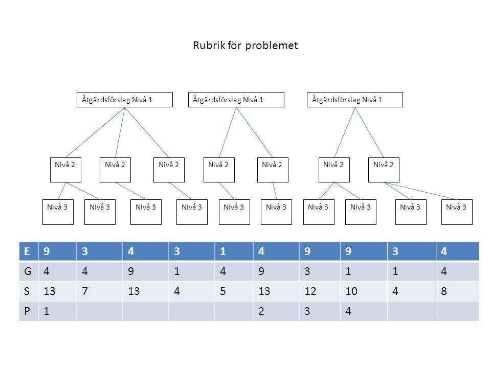 Rubrik för problemet E 9 3 4 1 G S 13 7 5 12 10 8 P 2