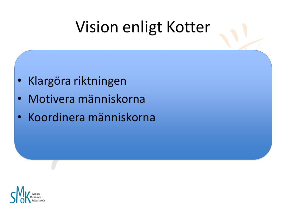 Vision enligt Kotter Klargöra riktningen Motivera människorna