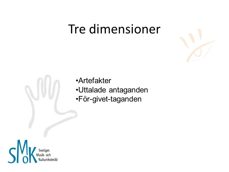 Tre dimensioner Artefakter Uttalade antaganden För-givet-taganden