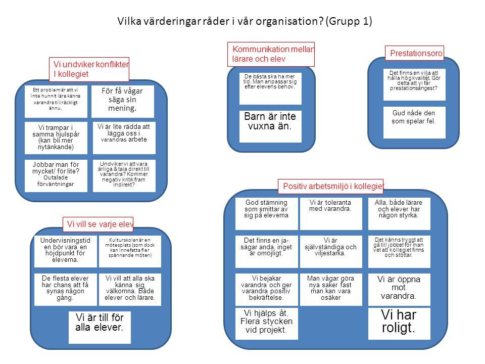 Vilka värderingar råder i vår organisation (Grupp 1)