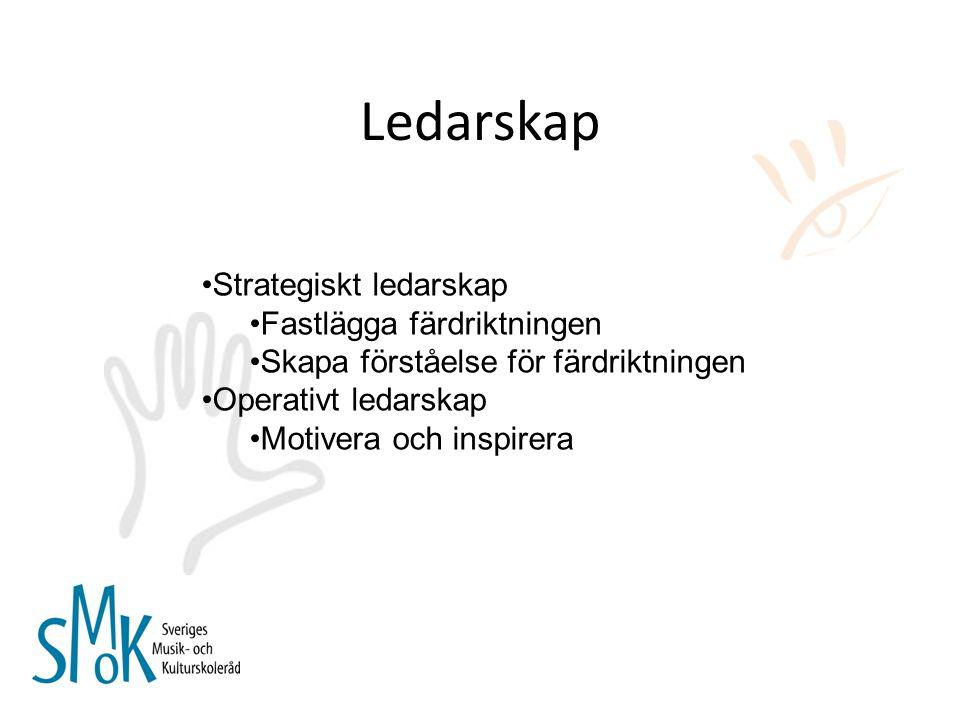 Ledarskap Strategiskt ledarskap Fastlägga färdriktningen