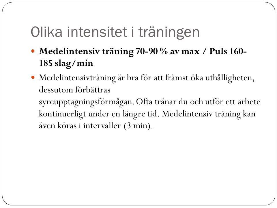 Olika intensitet i träningen