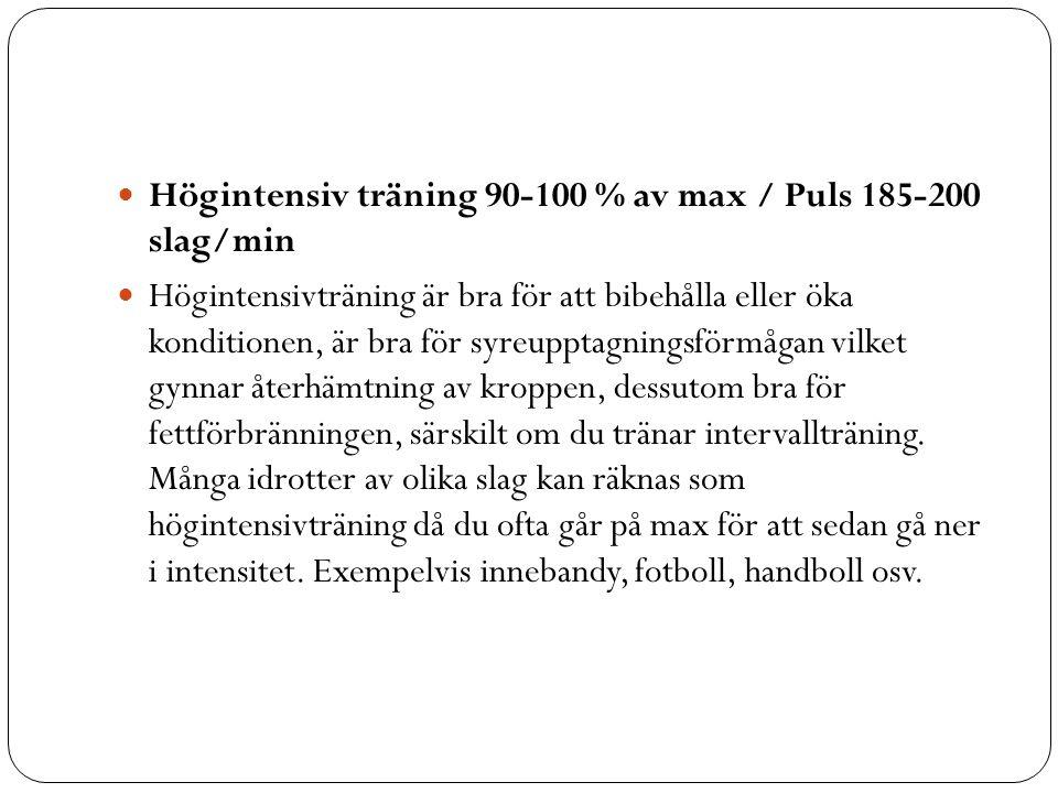 Högintensiv träning 90-100 % av max / Puls 185-200 slag/min