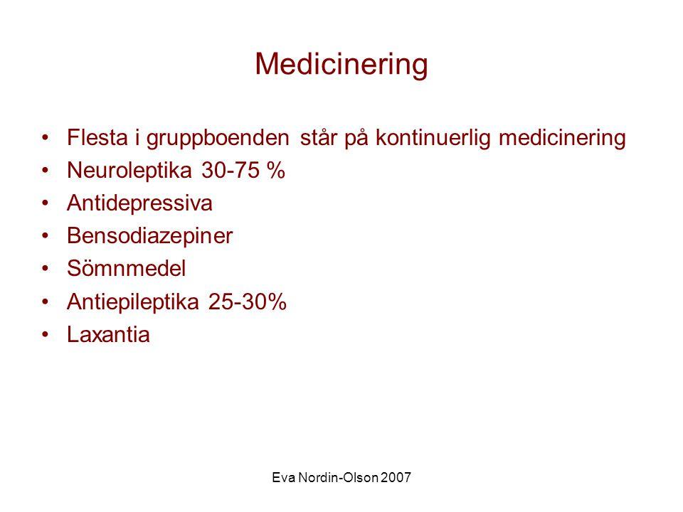 Medicinering Flesta i gruppboenden står på kontinuerlig medicinering