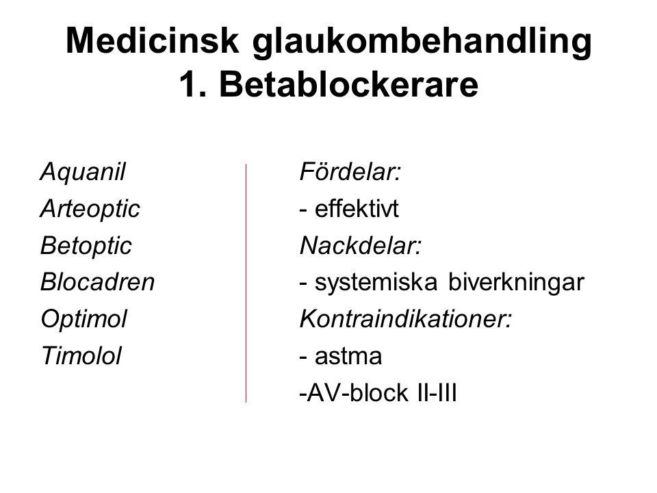 Medicinsk glaukombehandling 1. Betablockerare