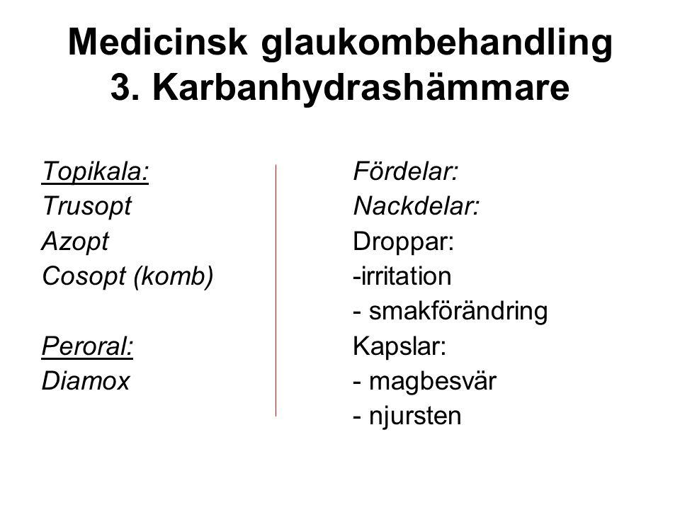 Medicinsk glaukombehandling 3. Karbanhydrashämmare