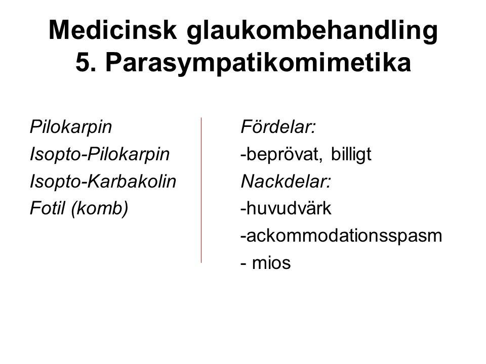 Medicinsk glaukombehandling 5. Parasympatikomimetika