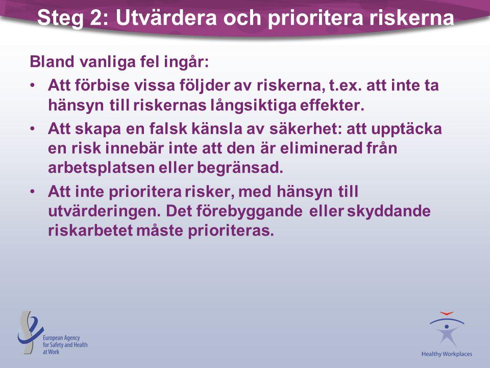 Steg 2: Utvärdera och prioritera riskerna